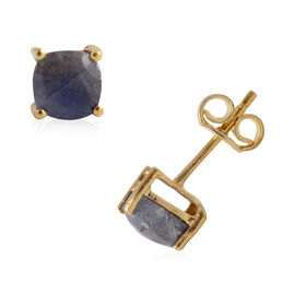 Madagascar Blue Sapphire (Cush) Stud Earrings in Yellow Gold Overlay Sterling Silver 2.850 Ct.