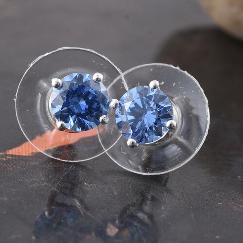 J Francis - Sterling Silver (Rnd) Stud Earrings (with Push Back) Made with Blue SWAROVSKI ZIRCONIA