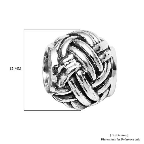 Charmes De Memoire Platinum Overlay Sterling Silver Woven Charm, Silver wt 4.30 Gms