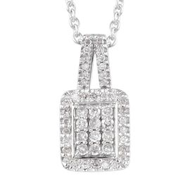 Diamond Platinum Over Sterling Silver Pendant, With Chain (18 in) TGW 0.330 ctw  0.330  Ct.