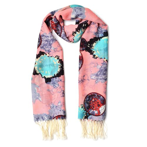 100% Wool Pink, Blue and Multi Colour Circular Design Pattern Scarf with Tassels (Size 184X68 Cm)