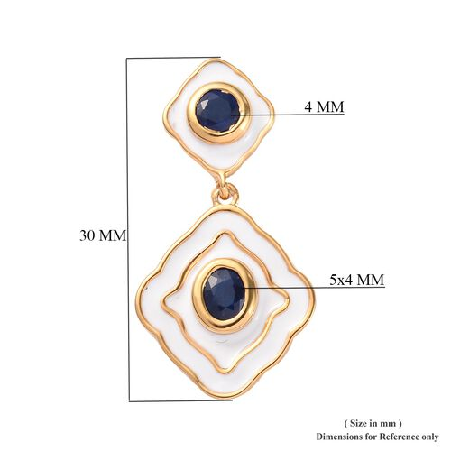 Blue Spinel Enamelled Dangle Earrings (with Push Back) in 14K Gold Overlay Sterling Silver 1.25 Ct.