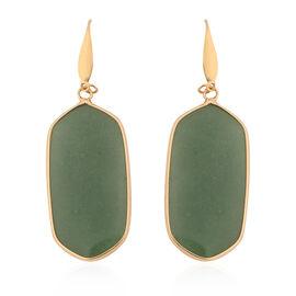 Green Aventurine Hook Earrings in Yellow Gold Tone 85.00 Ct.