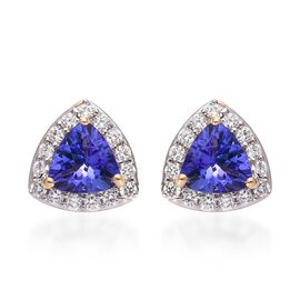 ILIANA 18K Yellow Gold AAA Tanzanite and Diamond Halo Stud Earrings (with Screw Back) 1.10 Ct.