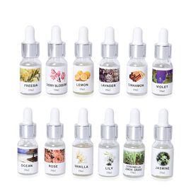 Set of 12 - Fragrance Oils (Freesia, Cherry Blossom, Lemon, Lavender, Cinnamon, Violet, Ocean, Rose,