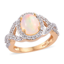 Wegeltena Ethiopian Welo Opal (Ovl 9x7mm) and Natural Cambodian Zircon Ring in 14K Gold Overlay Ster