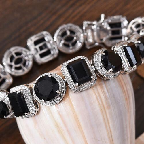 Natural Boi Ploi Black Spinel (Rnd and Oct) Bracelet (Size 7) in Platinum Overlay Sterling Silver 50.000 Ct., Silver Wt. 23.65 Gms