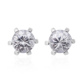 100% Natural Tanzanian White Zircon (Rd 6mm) Stud Earrings (with Puch Back) in Rhodium Overlay Sterl