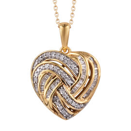 GP Diamond (Rnd), Kanchanaburi Blue Sapphire Heart Pendant With Chain (Size 20) in 14K Gold  and Platinum Overlay Sterling Silver 0.350 Ct.
