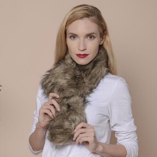 2 Piece Set - Faux Fur Collar Scarf (Size 96x14.5cm) and Boot Cuffs (Size 16.5x14.5cm) - Brown
