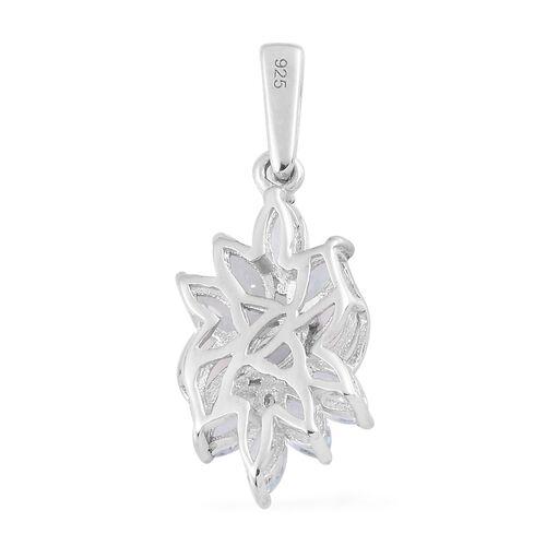 Santa Teresa Aquamarine Cluster Pendant in Platinum Overlay Sterling Silver