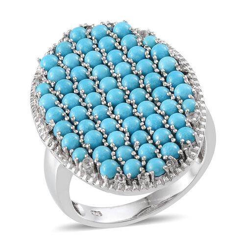 Arizona Sleeping Beauty Turquoise (Rnd), White Topaz Cluster Ring in Platinum Overlay Sterling Silver 4.650 Ct.