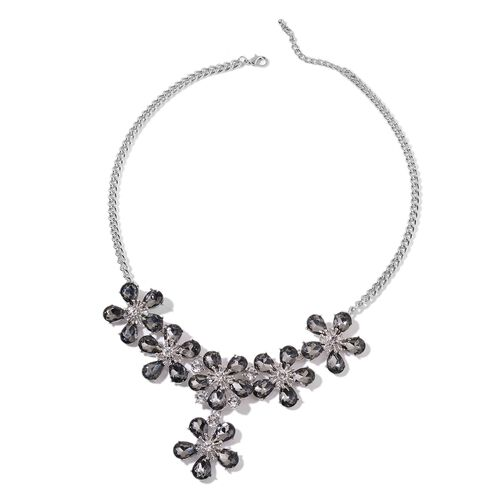 Simulated Grey Moonstone and White Austrian Crystal Flower Necklace (Size 21 with 2 inch Extender) in Silver Tone