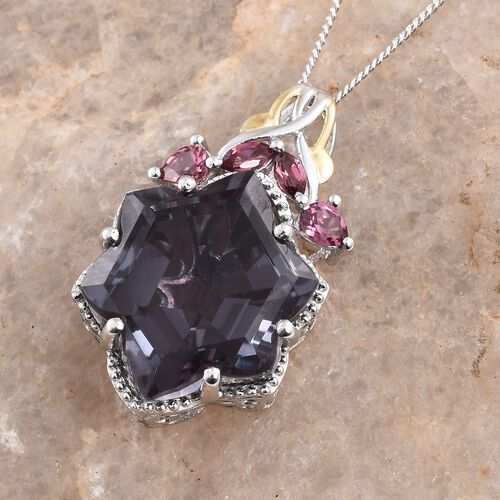 Alexandria Quartz and Rhodolite Garnet Pendant with Chain in Platinum Overlay Sterling Silver 16.250 Ct.