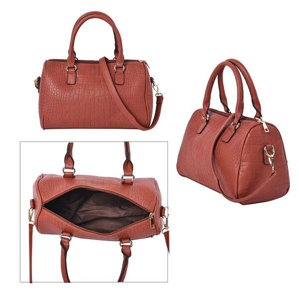 Set of 3 - Crocodile Skin Pattern Tote Bag (34x26x13.5cm), Satchel Bag with Detachable Shoulder Strap (30x21x13cm) and Crossbody Bag with Metallic Chain Strap (24x16cm) - Dark Red
