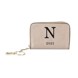 Genuine Leather Alphabet N Wallet with Engraved Message on Back Side (Size 11X7.5X2.5 Cm) - Gold