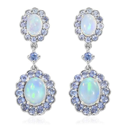 Ethiopian Welo Opal (Ovl), Tanzanite Dangling Earrings (with Push Back) in Platinum Overlay Sterling Silver 5.750 Ct. Silver wt 5.90 Gms.