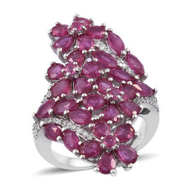 6.75 Ct African Ruby and Cambodian Zircon Cluster Ring in Sterling Silver 7.04 Grams