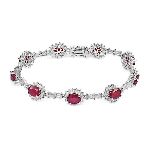 African Ruby (Ovl), Natural White Cambodian Zircon Bracelet (Size 7.50) in Rhodium Plated Sterling S