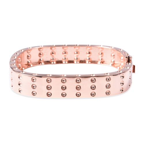 RACHEL GALLEY Majestic Collection Burmese Ruby Cuff Bangle in Rose Gold Plated Silver 7 Inch