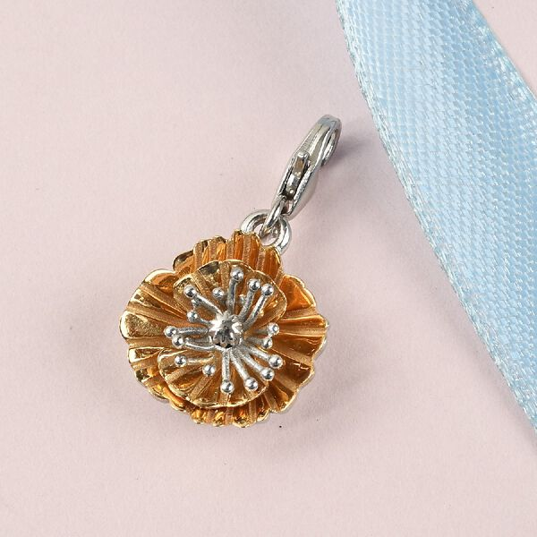 Poppy August Birth Flower Charm in Platinum and Gold Plated Sterling Silver