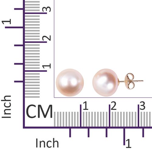 9K Yellow Gold White South Sea Pearl (Rnd 9 - 10 mm) Stud Earrings (with Push Back)