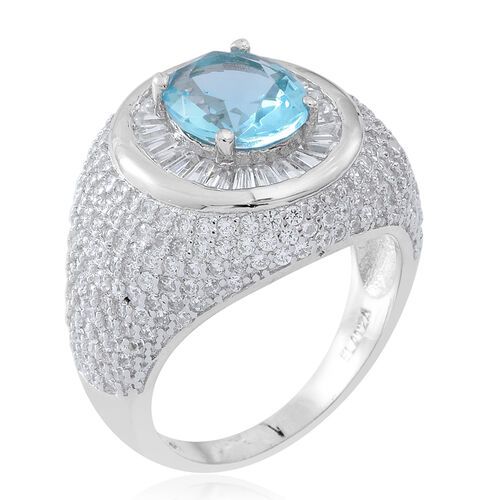 ELANZA Simulated Aquamarine (Ovl), Simulated White Diamond Ring in Rhodium Plated Sterling Silver. No of Stones 580 Pcs. Silver Wt 7.50 Gms