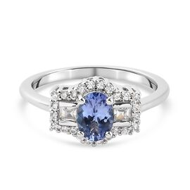 Tanzanite and Natural Cambodian Zircon Ring in Platinum Overlay Sterling Silver 1.210 Ct.