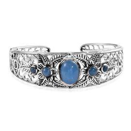11.25 Ct Burmese Blue Jade Cuff Bangle in Silver 32.90 Grams 7.5 Inch