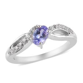 Tanzanite and Natural Cambodian Zircon Ring in Platinum Overlay Sterling Silver 0.75 Ct.