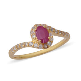 Burmese Ruby (Ovl), Natural White Cambodian Zircon Ring in Yellow Gold Overlay Sterling Silver 1.20