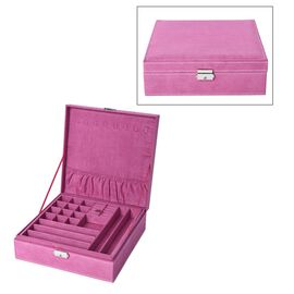 2 Tier Velvet Jewellery Box with Lock and Removable Tray (Size 26.3x26.3x8.5 Cm) - Rose Red