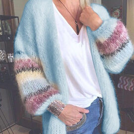 Kris Ana Open-Front Baggy Knitted Cardigan with Rainbow Stripes Pattern Sleeve (Size XL, 14-16) - Baby Blue