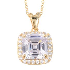 ELANZA Simulated White Diamond (Asscher Cut) Pendant With Chain (Size 18) in Yellow Gold Overlay Ste