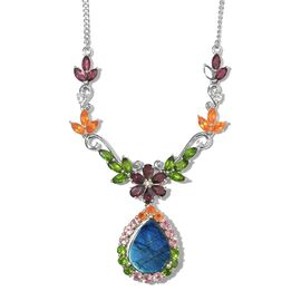 Natural Spectrolite (Pear 4.20 Ct), Rhodolite Garnet, Russian Diopside, Tanzanite and Multi Gemstone Floral Necklace (Size 18) in Platinum Overlay Sterling Silver 10.500 Ct. Silver wt. 10.00 Gms.