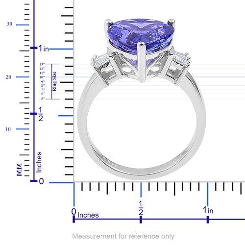 ILIANA 18K White Gold AAAA Tanzanite (Hrt 6.25 Ct), Diamond (SI/G-H) Ring 6.500 Ct.