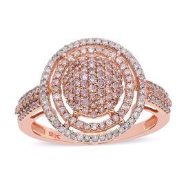 9K Rose Gold Natural White and Pink Diamond Ring 1.00 Ct.