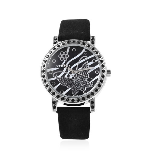 STRADA Japanese Movement Simulated Black Spinel Studded Butterfly Motif Dial Water Resistant Watch i
