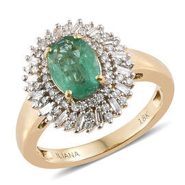 ILIANA 18K Yellow Gold AAA Kagem Zambian Emerald (Ovl 1.15 Ct) and Diamond (SI/G-H) Ring 1.545 Ct, G