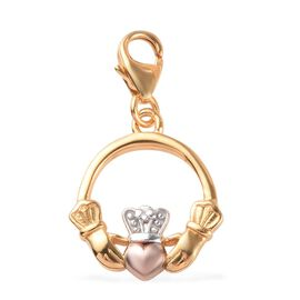 Platinum, Yellow and Rose Gold Overlay Sterling Silver Claddagh Charm