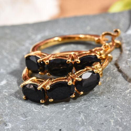 Black Tourmaline (Ovl) Hoop Earrings (with Clasp) in 14K Gold Overlay Sterling Silver 3.000 Ct.