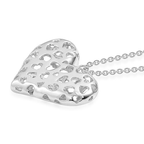RACHEL GALLEY Rhodium Plated Sterling Silver Lattice Heart Pendant With Chain (Size 30), Silver wt. 16.21 Gms.