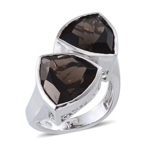 Brazilian Smoky Quartz (Trl) Ring in Platinum Overlay Sterling Silver 10.000 Ct. Silver wt. 7.70 Gms.