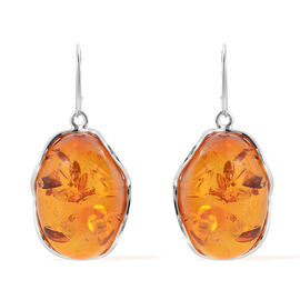 Baltic Amber Lever Back Earrings in Sterling Silver, Silver wt 16.00 Gms