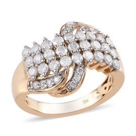 9K Yellow Gold SGL Certified Diamond (Rnd) Ring 1.00 Ct, Gold wt 5.3 Gms