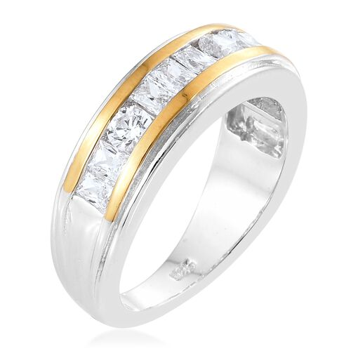 J Francis - Platinum and Yellow Gold Overlay Sterling Silver (Bgt and Rnd) Ring Made with SWAROVSKI ZIRCONIA