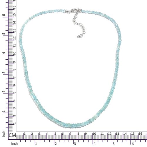One Time Deal- Espirito Santo Aquamarine (Rnd) Beads Necklace (Size 18) in Platinum Overlay Sterling Silver 45.000 Ct.