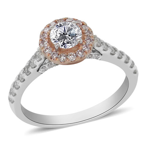 NY Close Out Deal- 14K White and Yellow Gold Natural Pink Diamond and White Diamond (I1/G-H) Ring 1.
