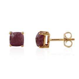Ruby (Cush) Stud Earrings in Yellow Gold Overlay Sterling Silver 3.200 Ct.