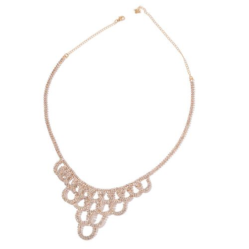 Celebrity Inspired - AAA White Austrian Crystal Necklace (Size 20 with 4 inch Extender) in Yellow Gold Tone